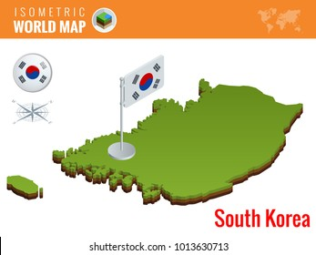 Isometric South Korea political map with capital Seoul. Vector illustration border with name of country.