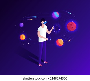 Isometric space and planets virtual reality. A man with virtual reality glasses