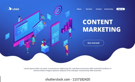 Isometric IT specialists working with charts on content marketing landing page. Business analysis, content strategy and management concept. Blue violet background. Vector 3d isometric illustration.