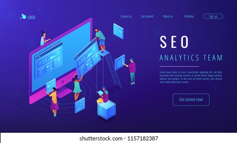 Isometric IT specialists working with web pages and charts landing page. Seo analysis and optimization, seo strategies and marketing concept. Blue violet background. Vector 3d isometric illustration.