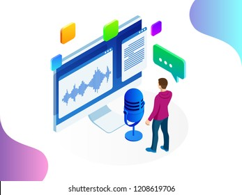 Isometric speech recognition, intelligent personal assistant created concept. Voice recognition vector illustration