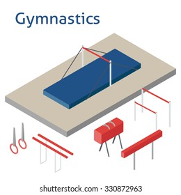 Isometric sport object. Gymnastics playground isolated on white. Sports infrastructure vector. Gymnastics ground and equipment vector. Location for web, app, game, informing
