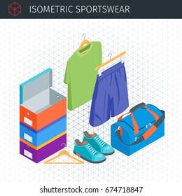 Isometrisches Sportbekleidungsset. Turnschuhe, Boxen, Sporttasche, T-Shirt und kurze Hosen. Sehr detaillierte Vektorgrafik