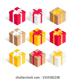 Isometric square gift box set. Surprise red, yellow, white, craft cardboard present boxes with ribbon bow isolated on white background. New year, anniwersary, birthday 3d symbol. Vector illustration