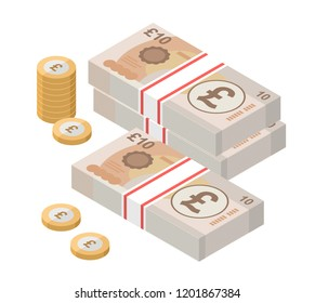 Isometric stacks of 10 pound sterling banknotes and coins. British money. Currency. Vector illustration.