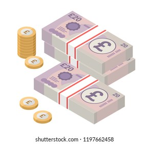 Isometric stacks of 20 pound sterling banknotes and coins. British money. Currency. Vector illustration.