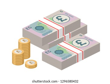 Isometric stacks of 5 pound sterling banknotes and coins. British money. Big pile of cash. Currency. Vector illustration.