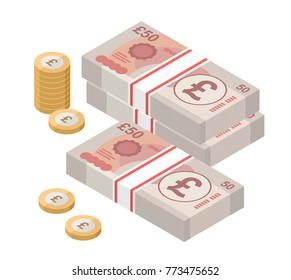 Isometric stacks of 50 pound sterling banknotes and coins. British money. Currency. Vector illustration.
