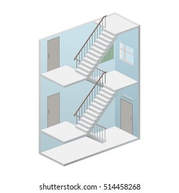 Isometric staircase. Entrance in home. Interior with ladder and entrance apartment. Vector Illustration.
