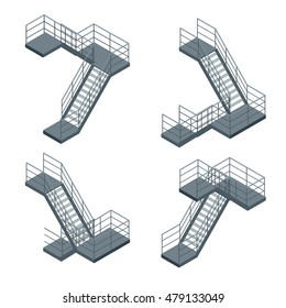 Isometric staircase. Flat 3d illustration. For infographics and design
