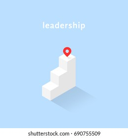 isometric stairs with geotag like leadership. flat simple trend 3d sucess logotype graphic design isolated on blue background. concept of get on top or reach marker for people motivation start up
