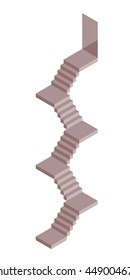 Isometric stairs in grey, isolated vector in 3d-view