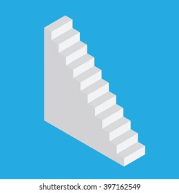 Isometric stairs on a blue background. Steps up.Vector.