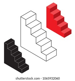 Isometric stairs. Vector