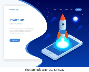Isometric Start up concept. Income and success. Rocket flying out of laptop screen on blue background. Project development.