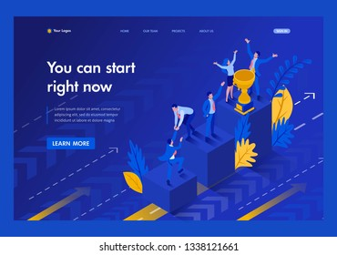 Isometric Start to grow and succeed right now, Business concept. Template Landing page.