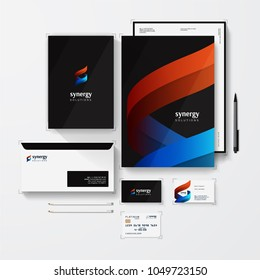Isometric Stationery Mockup With Logo Template For Your Presentation. Set Of Envelope, Box, Business Cards, Credit Card, Blank, Folder etc. Abstract vector logo of shapes in synergy