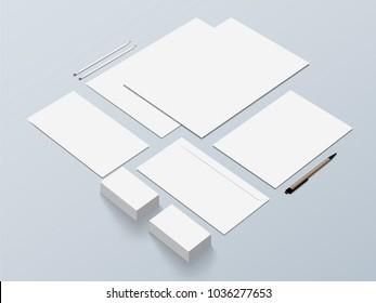 Isometric Stationery Mockup For Presentation. Vector illustration.