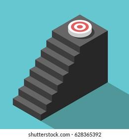 Isometric steps leading upwards to target. Goal, achievement, motivation and development concept. Flat design. EPS 8 compatible vector illustration, no transparency, no gradients