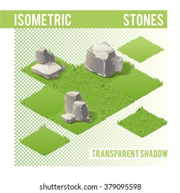 Isometric Stones with transparent shadow for landscape and game design