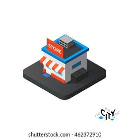 Isometric store flat icon isolated on white background, building city infographic element, digital low poly graphic, vector illustration