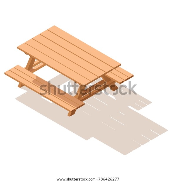Surprising Isometric Street Wooden Table Benches 3D Stock Vector Squirreltailoven Fun Painted Chair Ideas Images Squirreltailovenorg