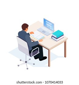 Isometric student workplace. 3d man sitting at a table and reading a book. Vector illustration.