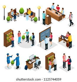 Isometric students in university set with graduates people learning reading taking examination visiting library lecture doing homework isolated vector illustration
