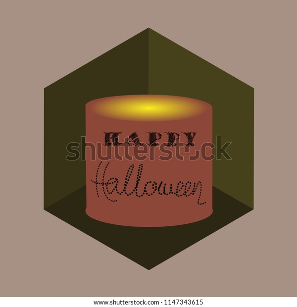 Isometric style candle with a note Happy Halloween. Vector illustration.