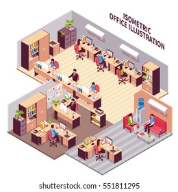 Isometric style composition with three office rooms environment workplaces with furniture machinery clients and employees images vector illustration