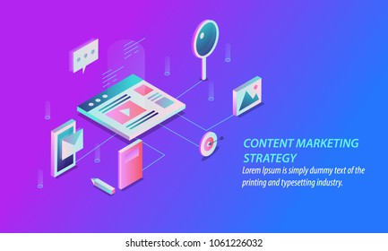 Isometric style design - Content marketing strategy, Digital marketing, Content sharing flat vector banner