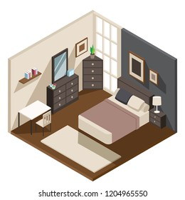 The isometric style design of a  well furnished bedroom.