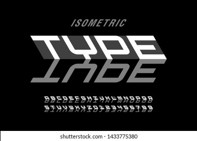 Isometric style font design, 3d alphabet letters and numbers vector illustration