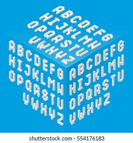 Isometric style fonts set vector illustration