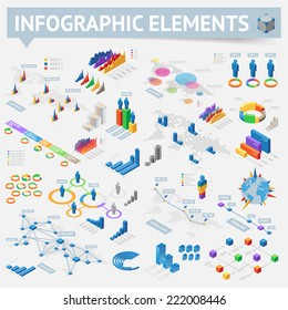 Isometric style infographics with data icons, world map charts and design elements. Vector illustration.