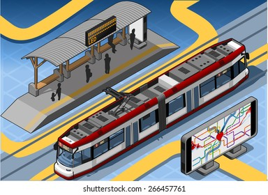 Isometric Subway Near Platform Roof and Underground Heart Map - Mind the Gap.