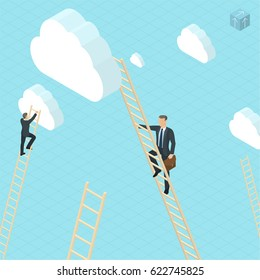 Isometric success competition career concept with businessmen ladder climbing to the clouds. Vector template for banner, presentation, infographics and brochure cover.