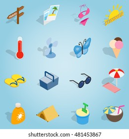 Isometric summer icons set. Universal summer icons to use for web and mobile UI, set of basic summer elements vector illustration