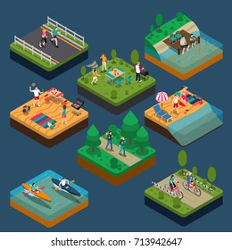 Isometric summer outdoor activity people composition with people who lead a sportive lifestyle vector illustration