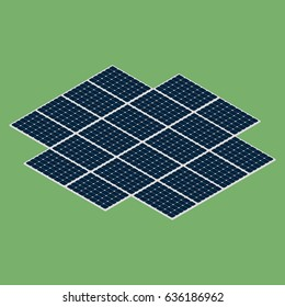 Isometric sun panels isolated on green background. Clean renewable energy. Vector illustration of many connected solar panels.