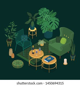 Isometric sun room in emerald green. Vector illustration in flat design.