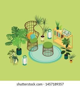 Isometric sun room in green. Vector illustration in flat design.