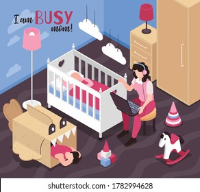 Isometric super mom composition with text and childrens room scenery with sleeping kids and working mother vector illustration