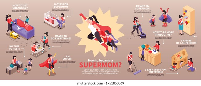 Isometric super mom infographics with scenes of mother and child wearing superhero costumes with text captions vector illustration