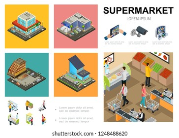 Isometric supermarket infographic template with shopping mall exteriors video surveillance system customers buying different products in hall of hypermarket vector illustration