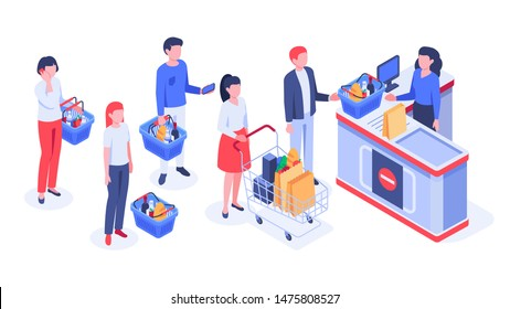 Isometric supermarket purchases. Buyers in line waiting, shoppers purchase and retail store cash register. Shopping together, shops retails clerks service or payment checkout vector illustration