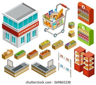 Isometric supermarket set