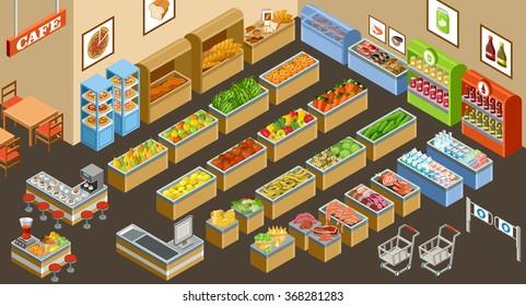 Isometric supermarket. Vector