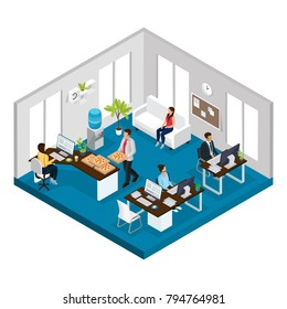 Isometric support service office concept with managers working at tables and client waiting for consultation isolated vector illustration
