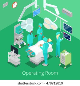 Isometric Surgery Operating Room with Doctors on Operation Process. Vector illustration